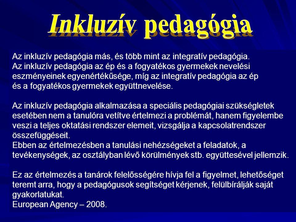 Inkluzív pedagógia Az inkluzív pedagógia más, és több mint az integratív pedagógia.