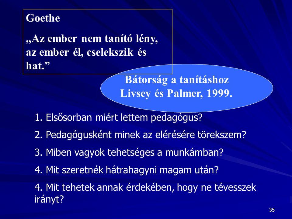 Bátorság a tanításhoz Livsey és Palmer, 1999.
