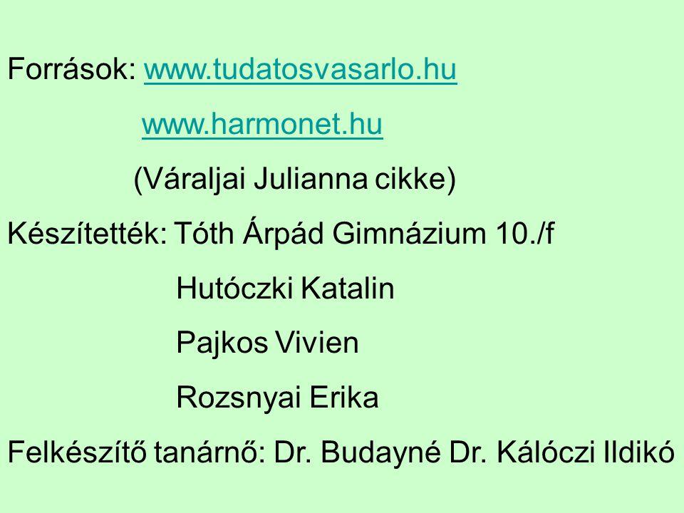 Források: www.tudatosvasarlo.hu
