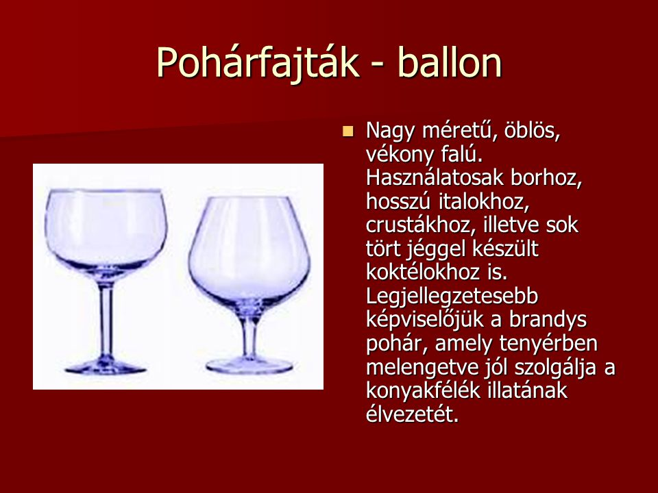 Pohárfajták - ballon