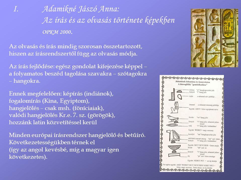 Adamikné Jászó Anna: Az írás és az olvasás története képekben OPKM 2000.