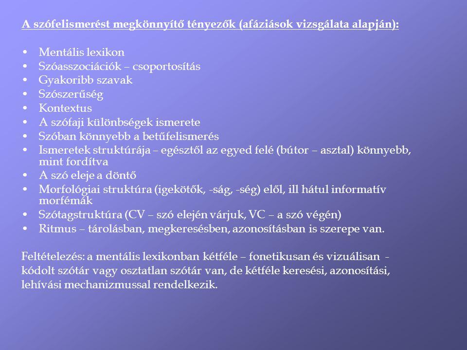 A szófelismerést megkönnyítő tényezők (afáziások vizsgálata alapján):