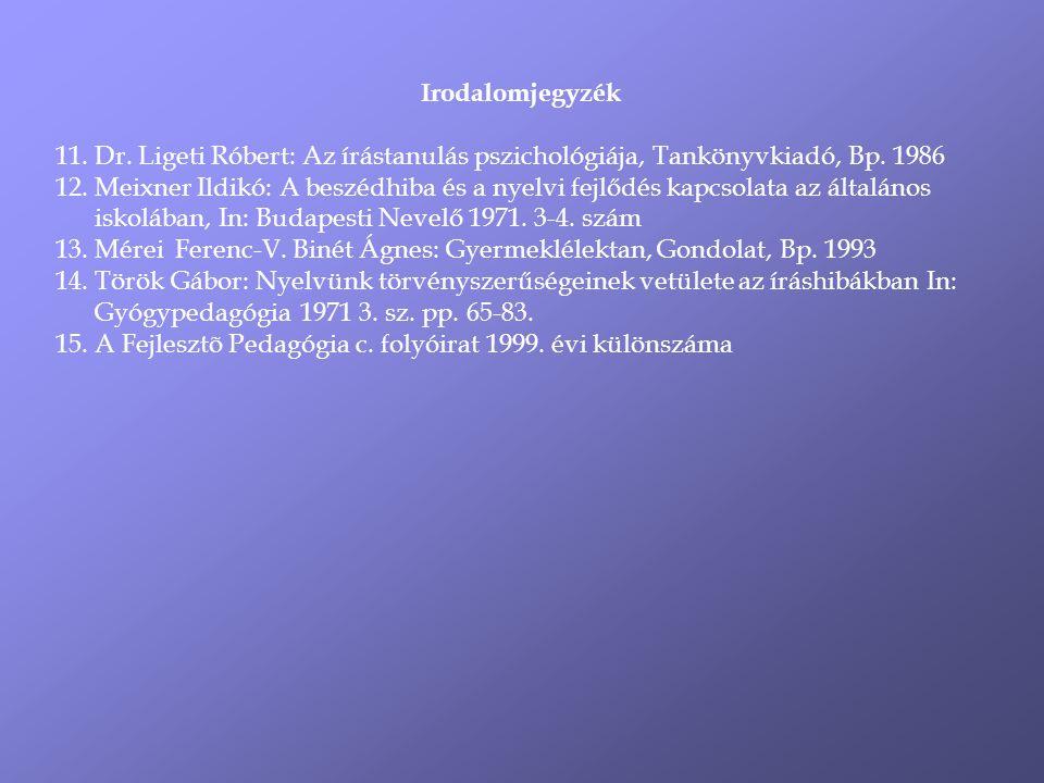 Irodalomjegyzék Dr. Ligeti Róbert: Az írástanulás pszichológiája, Tankönyvkiadó, Bp. 1986.