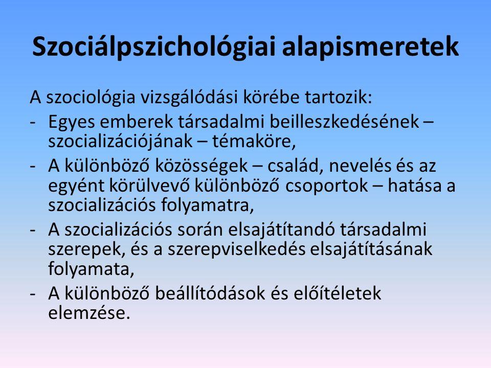 Szociálpszichológiai alapismeretek