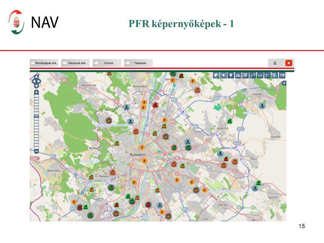 PFR képernyőképek - 1 A narancssárga körökben jelzett számok az adott helyen lévő pénztárgépek számát jelöli.