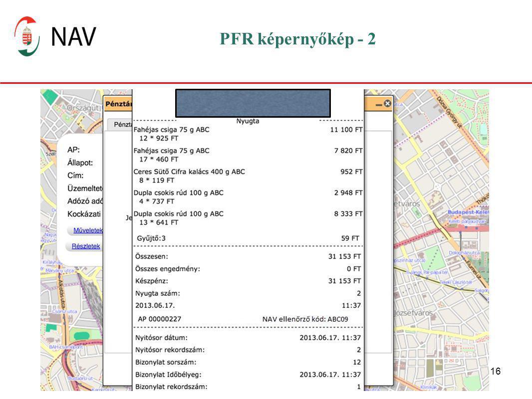 PFR képernyőkép - 2 SMS útján ( a revizori tabletet használva) lehet lekérni az adott pénztárgépre vonatkozó adatokat.