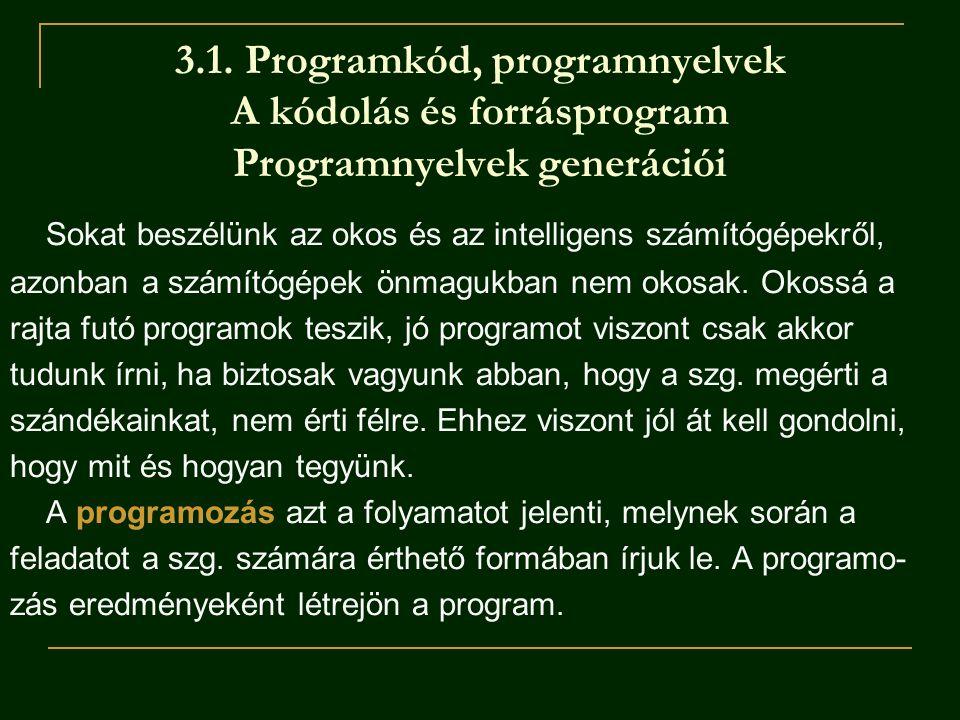 3.1. Programkód, programnyelvek A kódolás és forrásprogram Programnyelvek generációi