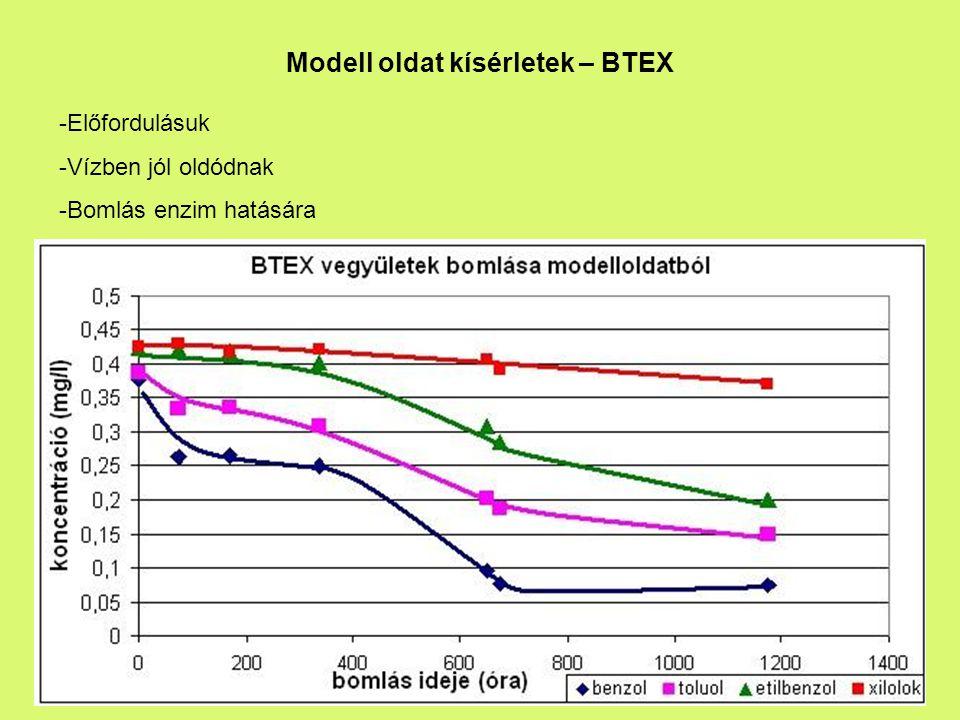 Modell oldat kísérletek – BTEX
