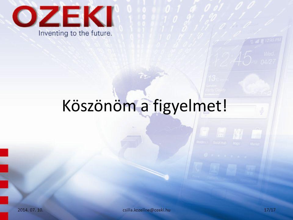 Köszönöm a figyelmet! 2017.04.04. csilla.kozellne@ozeki.hu