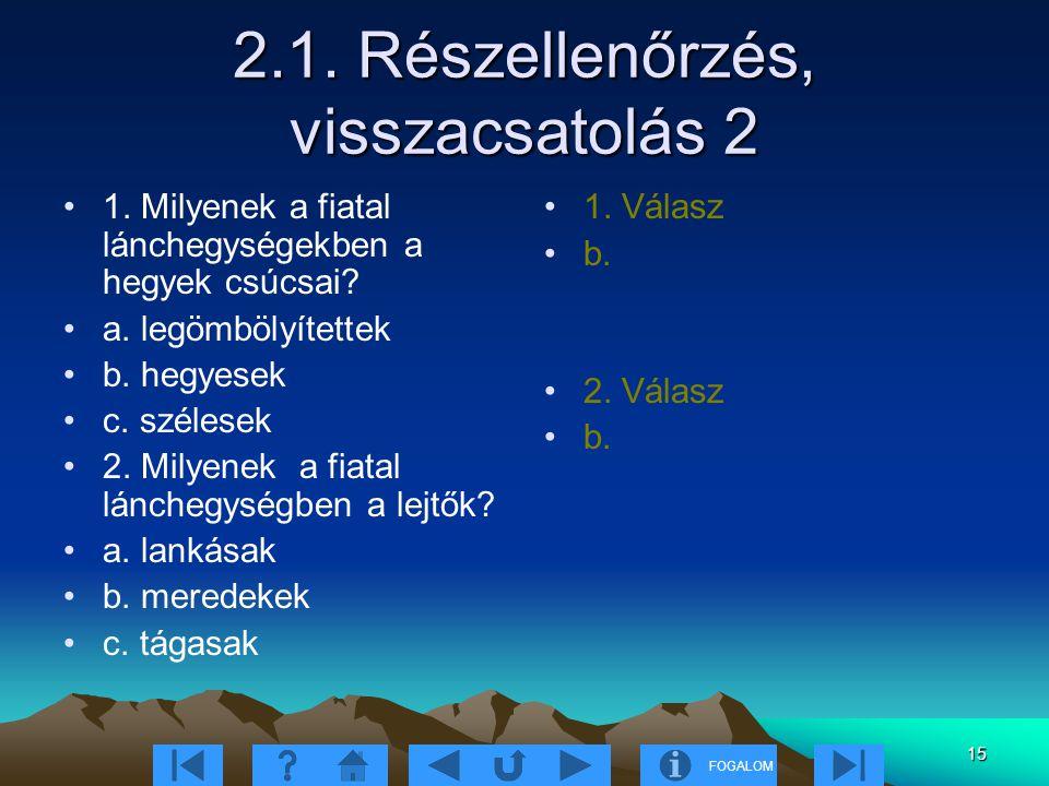 2.1. Részellenőrzés, visszacsatolás 2