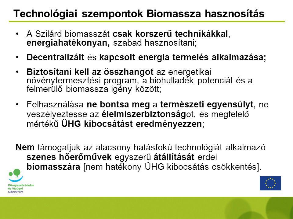 Technológiai szempontok Biomassza hasznosítás