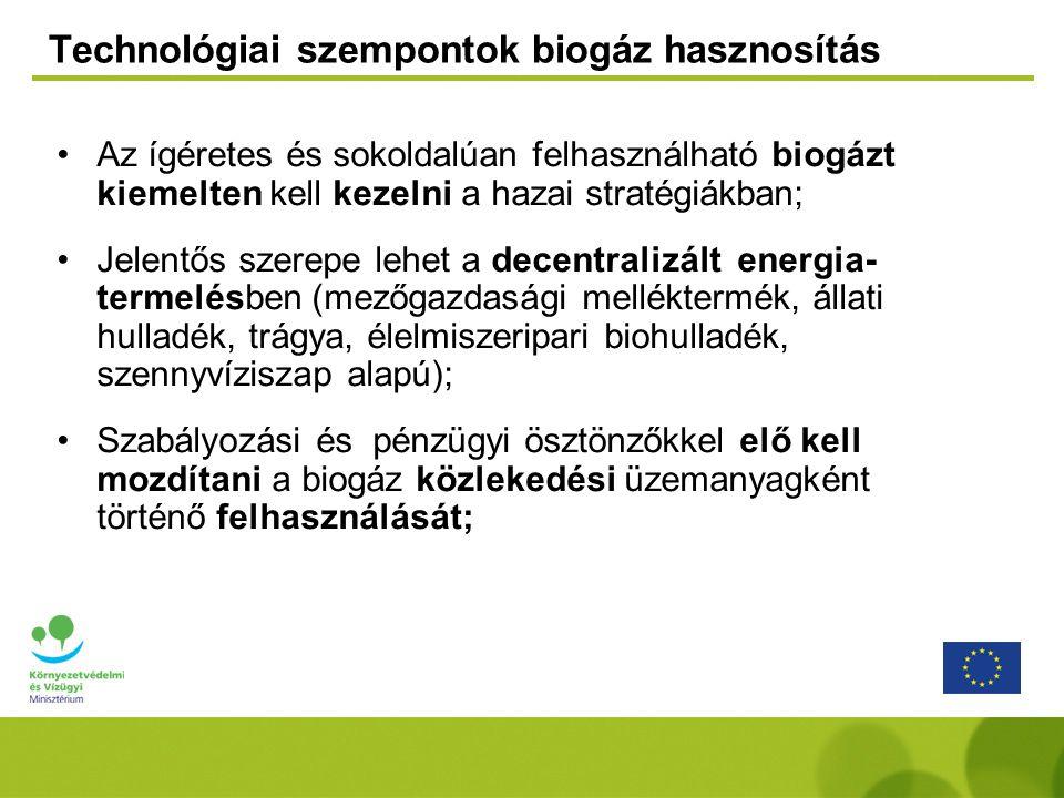 Technológiai szempontok biogáz hasznosítás
