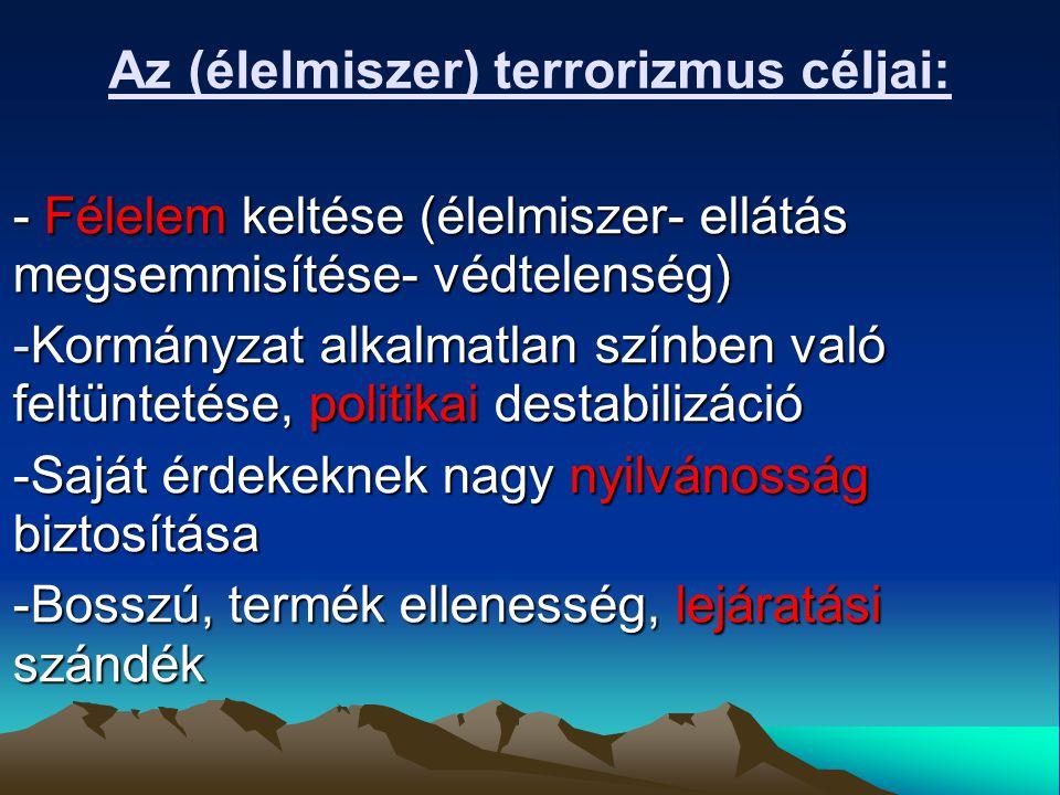 Az (élelmiszer) terrorizmus céljai: