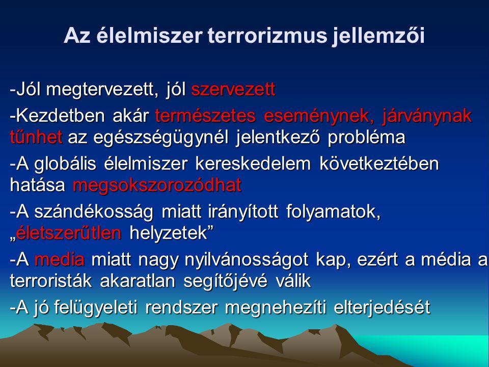 Az élelmiszer terrorizmus jellemzői