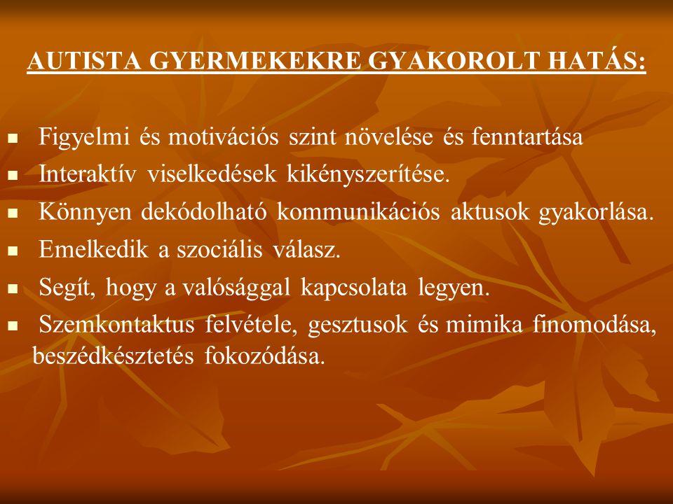 AUTISTA GYERMEKEKRE GYAKOROLT HATÁS:
