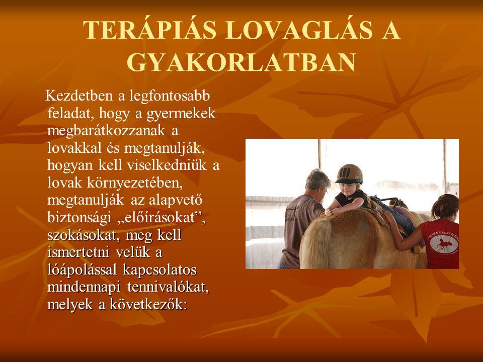 TERÁPIÁS LOVAGLÁS A GYAKORLATBAN