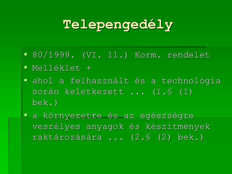 Telepengedély 80/1999. (VI. 11.) Korm. rendelet Melléklet +