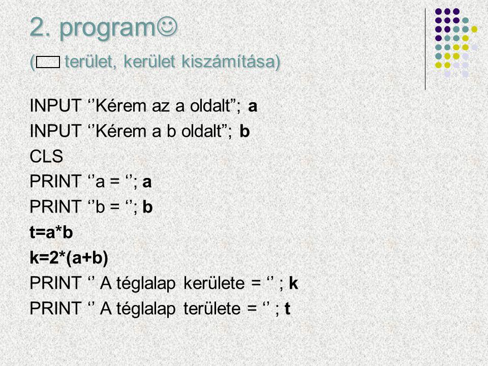 2. program ( terület, kerület kiszámítása)