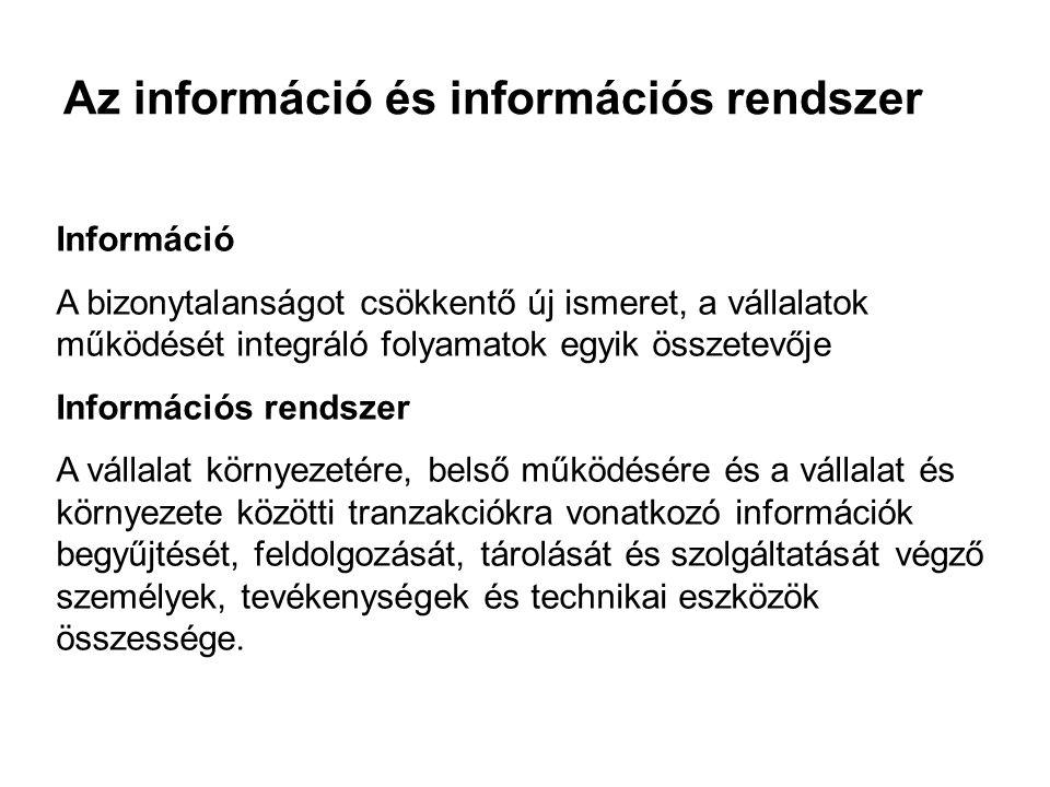 Az információ és információs rendszer