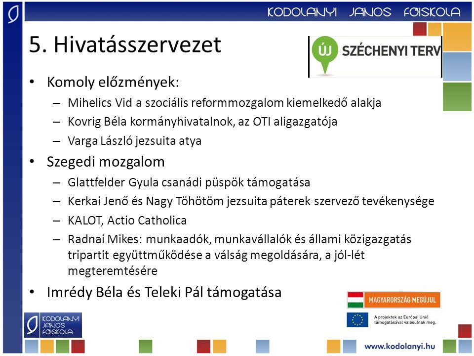 5. Hivatásszervezet Komoly előzmények: Szegedi mozgalom