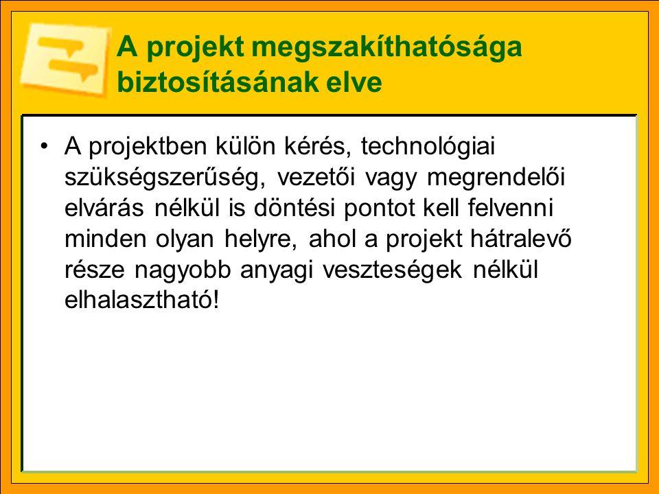 A projekt megszakíthatósága biztosításának elve