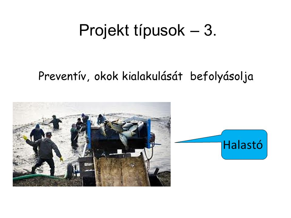 Projekt típusok – 3. Preventív, okok kialakulását befolyásolja Halastó