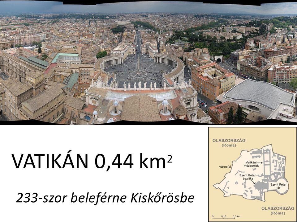VATIKÁN 0,44 km2 233-szor beleférne Kiskőrösbe