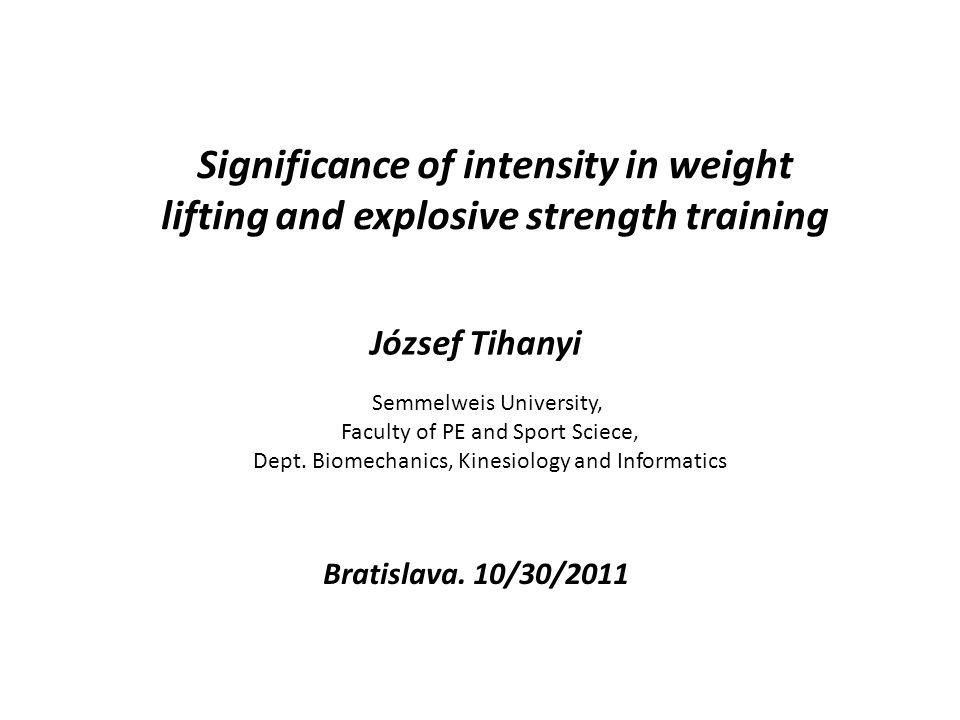Significance of intensity in weight lifting and explosive strength training