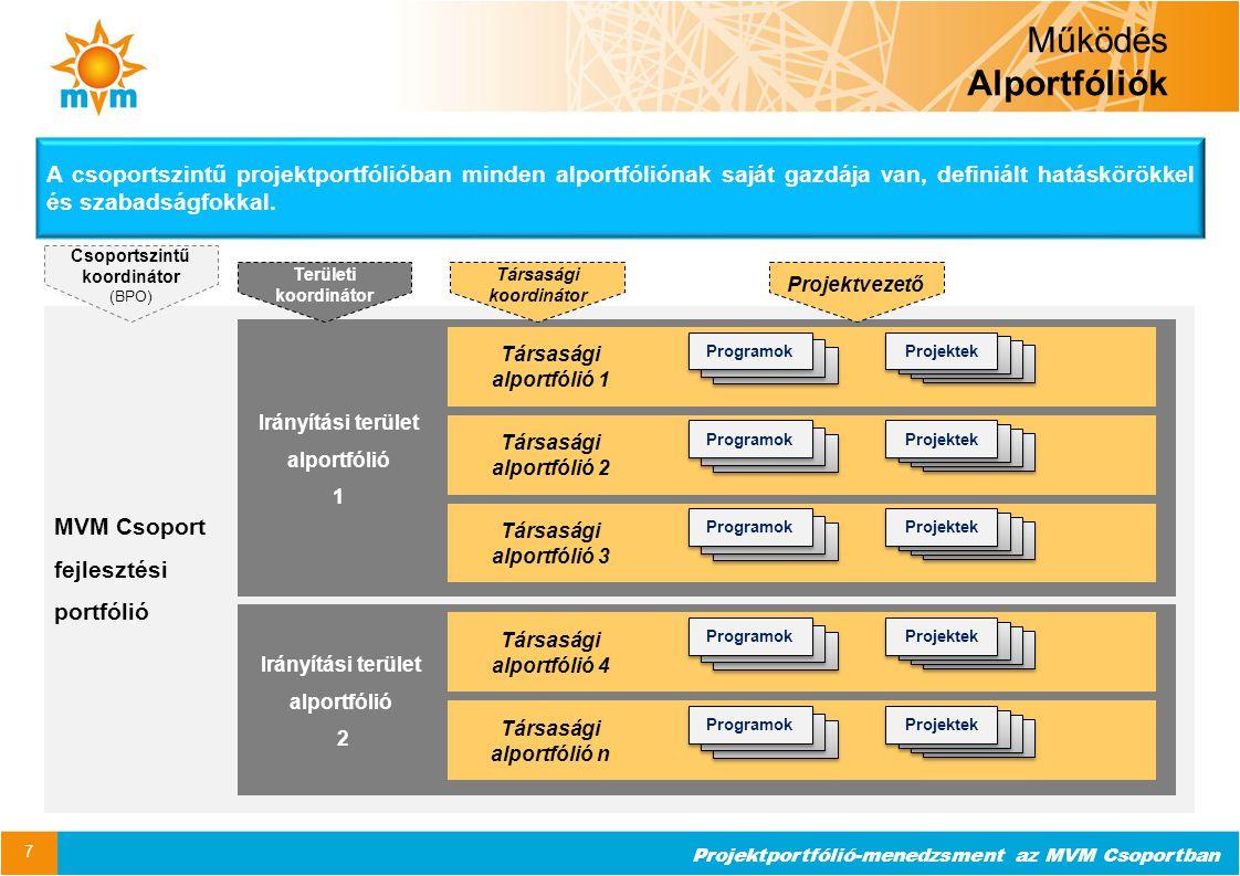 Működés Alportfóliók A csoportszintű projektportfólióban minden alportfóliónak saját gazdája van, definiált hatáskörökkel és szabadságfokkal.