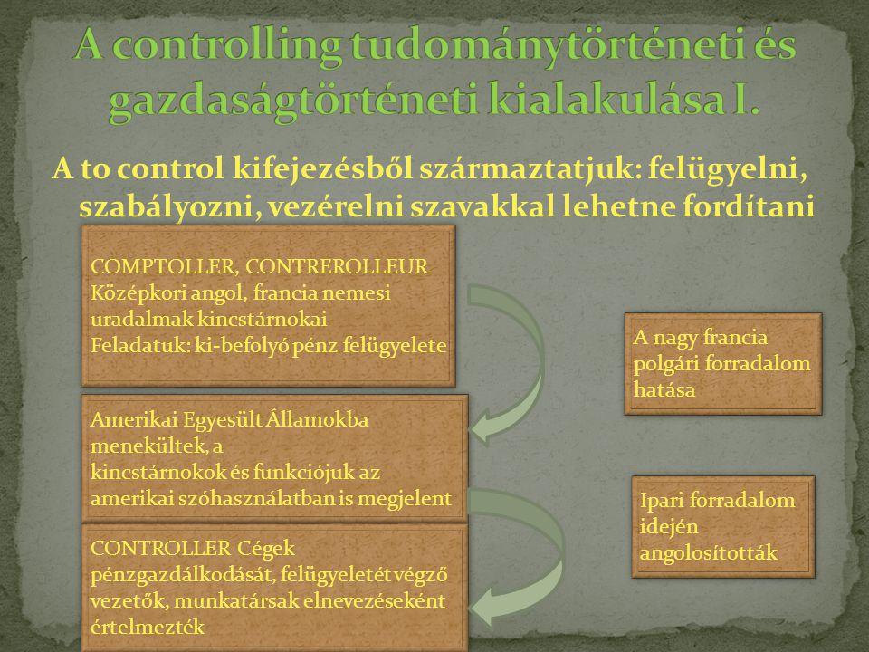 A controlling tudománytörténeti és gazdaságtörténeti kialakulása I.