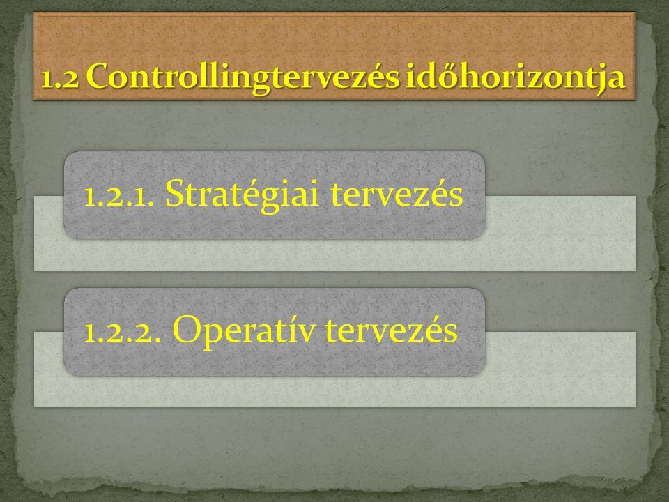 1.2 Controllingtervezés időhorizontja
