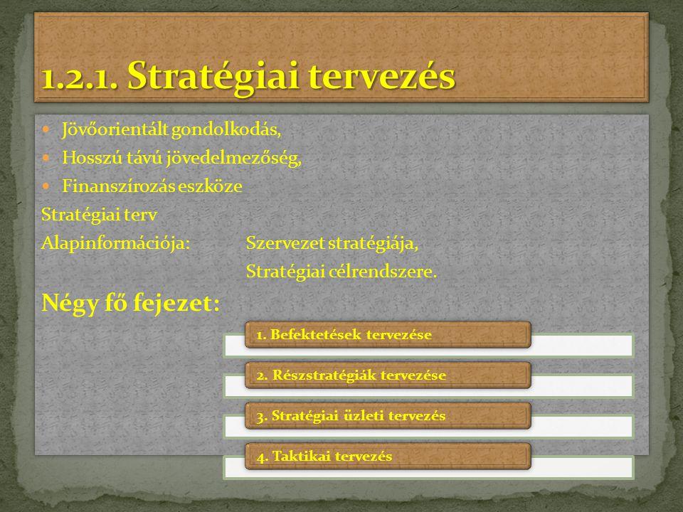 1.2.1. Stratégiai tervezés Négy fő fejezet: Jövőorientált gondolkodás,