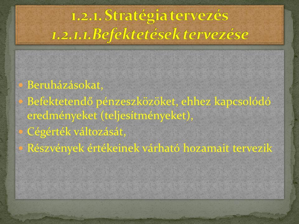1.2.1. Stratégia tervezés 1.2.1.1.Befektetések tervezése