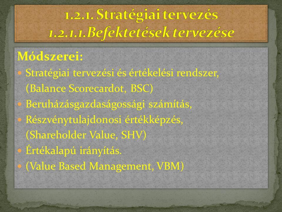 1.2.1. Stratégiai tervezés 1.2.1.1.Befektetések tervezése