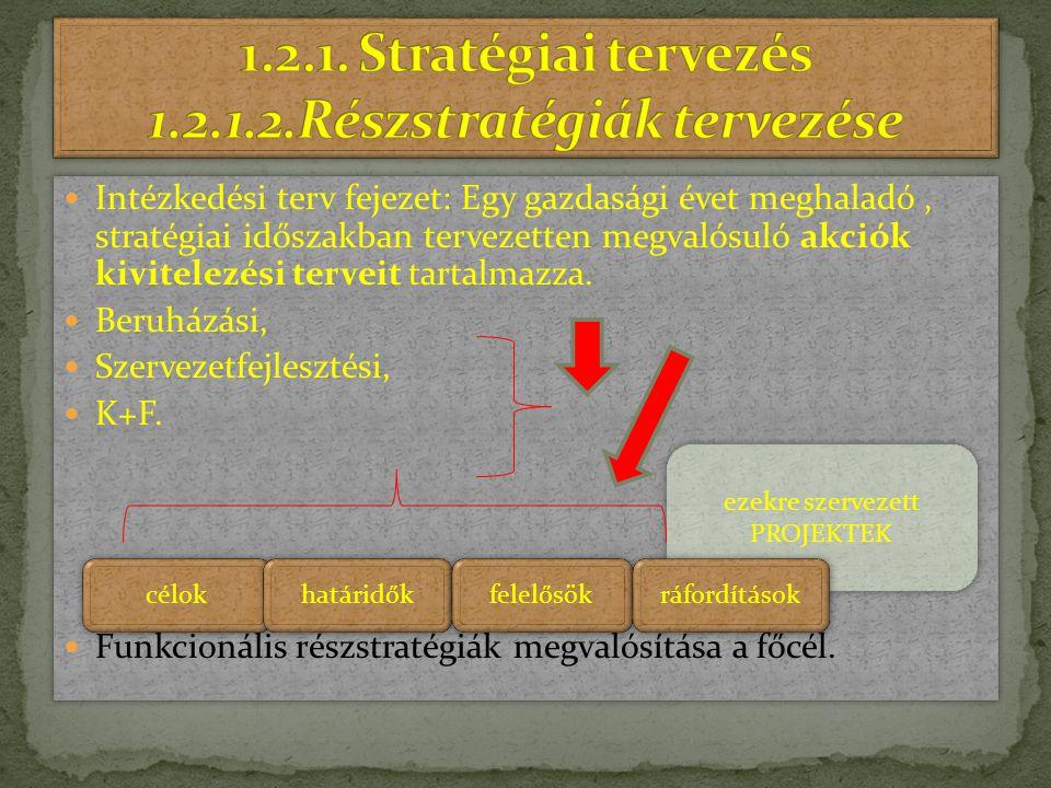 1.2.1. Stratégiai tervezés 1.2.1.2.Részstratégiák tervezése