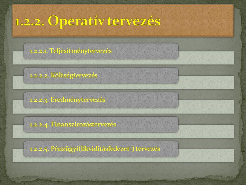 1.2.2. Operatív tervezés 1.2.2.1. Teljesítménytervezés
