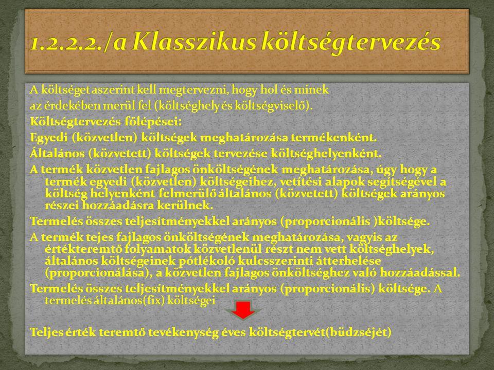 1.2.2.2./a Klasszikus költségtervezés