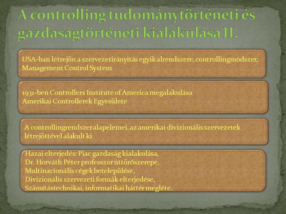 A controlling tudománytörténeti és gazdaságtörténeti kialakulása II.