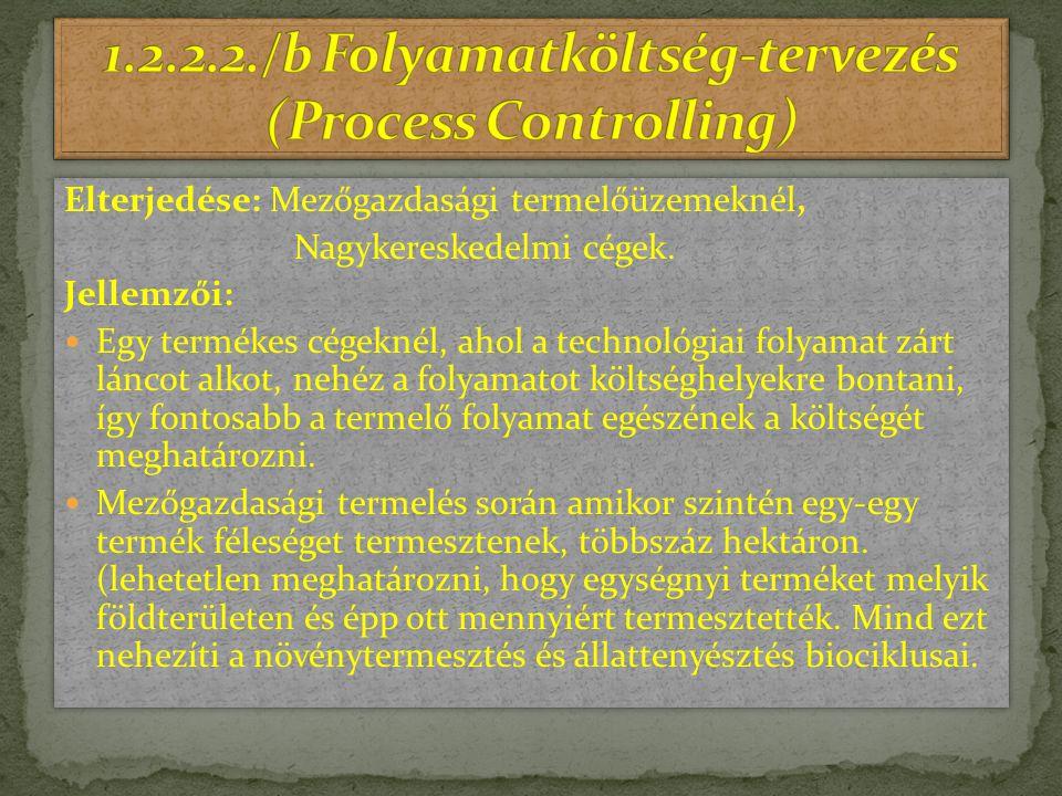 1.2.2.2./b Folyamatköltség-tervezés (Process Controlling)