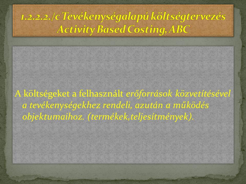 1.2.2.2./c Tevékenységalapú költségtervezés Activity Based Costing, ABC