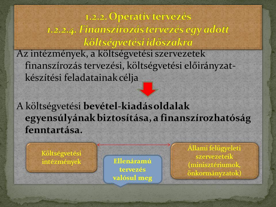 1.2.2. Operatív tervezés 1.2.2.4. Finanszírozás tervezés egy adott költségvetési időszakra