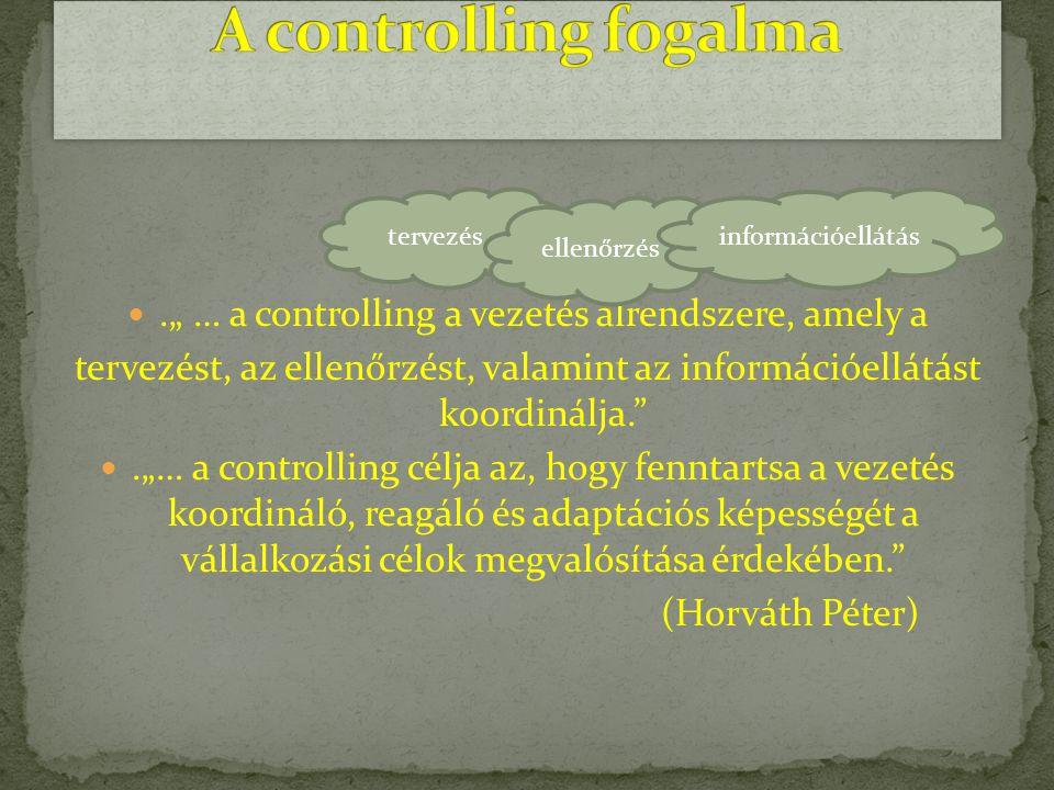 """."""" … a controlling a vezetés alrendszere, amely a"""