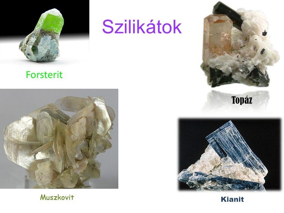 Szilikátok Forsterit Topáz Muszkovit Kianit