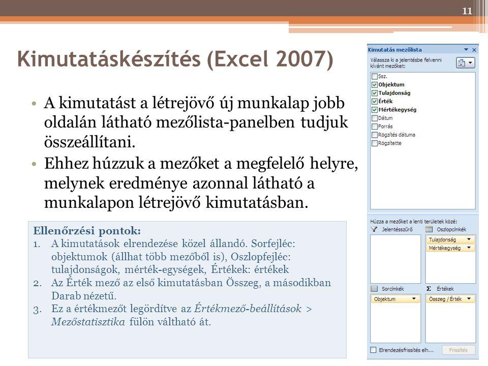 Kimutatáskészítés (Excel 2007)
