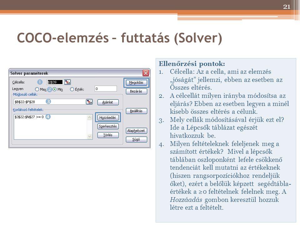COCO-elemzés – futtatás (Solver)