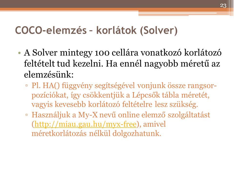 COCO-elemzés – korlátok (Solver)