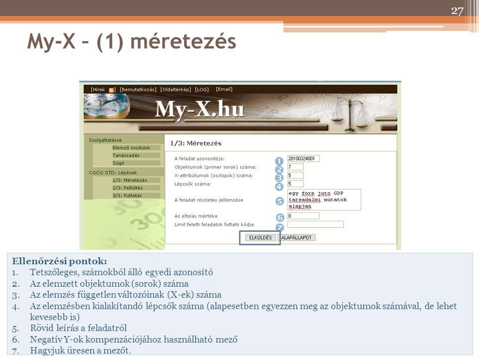 My-X – (1) méretezés        Ellenőrzési pontok: