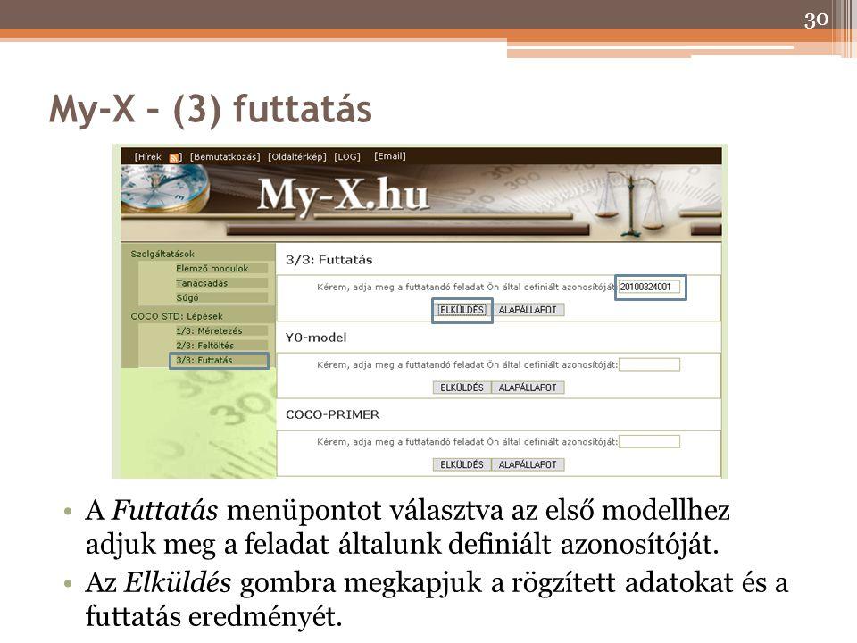 My-X – (3) futtatás A Futtatás menüpontot választva az első modellhez adjuk meg a feladat általunk definiált azonosítóját.