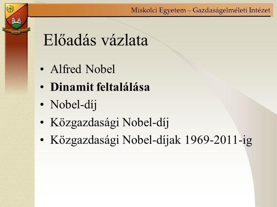 Előadás vázlata Alfred Nobel Dinamit feltalálása Nobel-díj