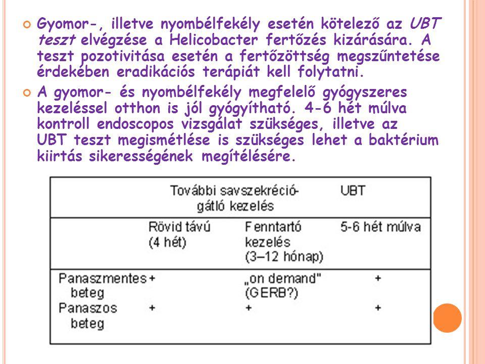 Gyomor-, illetve nyombélfekély esetén kötelező az UBT teszt elvégzése a Helicobacter fertőzés kizárására. A teszt pozotivitása esetén a fertőzöttség megszűntetése érdekében eradikációs terápiát kell folytatni.